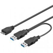 Goobay Cavo USB 3.0 SuperSpeed ad Y 2x A M / Micro B M 0,3 m Nero