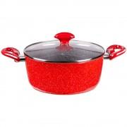 Тенджера с мраморно покритие ZEPHYR Red Passion ZP 4418 E24, 24 см, 4 литра, Индукция, Червен