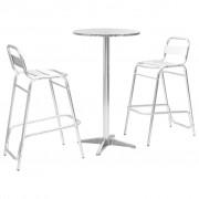 vidaXL Бар комплект с кръгла маса, 3 части, сребрист, алуминий