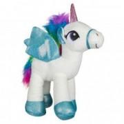 Unicorn plus alb bleu cu aripi 35 cm