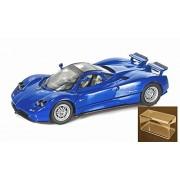 Diecast Car & Accessory Package - Pagani Zonda C12, Blue - Motormax 73272 -1/24 scale Diecast Model Toy Car w/display case