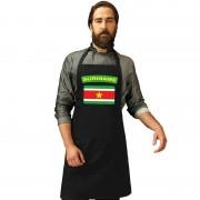 Bellatio Decorations Suriname vlag barbecueschort/ keukenschort zwart volwassenen