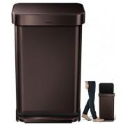 CW2036 Pedálos szemetes, 45 literes, beépített zsáktartóval sötét bronz