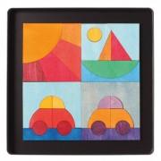 PUZZLE MAGNETIC CU MASINUTA, BARCUTA SI SOARE - GRIMM'S Spiel und Holz Design (91161)