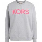 Michael Kors Felpa Michael Kors in cotone grigio con logo frontale fucsia