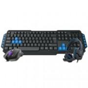 Gamdias Poseidon E1 3-in1, клавиатуа/мишка/слушалки, 3200 dpi, микровон, гейминг, USB, черни