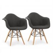 OneConcept Visconti стол комплект от 2-части ретро PP конструкция,бреза, сив цвят (DTF4-Visconti-GR)