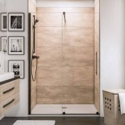 Schulte Home Porte de douche coulissante Newstyle Black, 100 cm, anticalcaire, style industriel, profilé noir