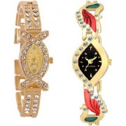 TRUE CHOICE NEW BRAND GOLD AKS AND GOLD DAIMOND ANALOG WATCH FOR WOMEN COMBO SUPER. 6 month warranty