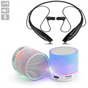 Wireless Bluetooth Headphone HBS-730 Neckband with Mini Bluetooth Speaker(Combo of Two Pack) Multi-Color