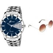 Rich Club Analog Watch, Round Sunglass Combo(Brown)