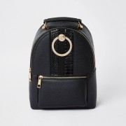 river island Womens Black circle ring backpack (One Size)