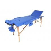 Stół, łóżko do masażu 3 segmentowe drewniane niebieskie + dodatki + torba gratis