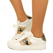Sneakers Donna Bianche con Glitter Bronzo in Pelle Made in Italy T: 35, 36, 37, 38, 39, 40, 41