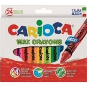 Creioane CARIOCA Wax Crayon Jumbo cerate rotunde lavabile 24 culori-cutie