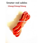 Generic 16AWG : 5meter RED Silicon Wire 12AWG 14AWG 16AWG Heatproof Soft Silicone Silica Gel Wire Cable
