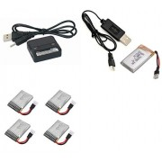 Walkera QR Ladybird V1 6-Axis 5.8Ghz FPV [QTY: 1] Dual Lipo 3.7v USB Battery Charger any mAh Auto Shut Off [QTY: 1] 350mAh 25c Rechargeable Power Pack HM-V100D03BL-Z-12 [QTY: 4] 240mAh Li-Po RC Part [