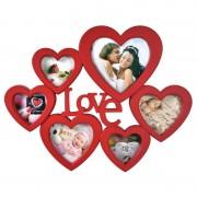 Rama Foto Seca Colaj 6 Fotografii, Forma Inimi LOVE, Culoare Rosu