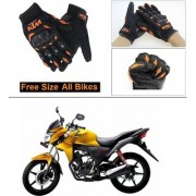 AutoStark Gloves KTM Bike Riding Gloves Orange and Black Riding Gloves Free Size For Honda CB Twister