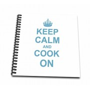 3dRose Keep Calm and Cook on - Carry on Cooking - Gifts for Chefs - Light Blue Fun Funny Humor Humorous - Drawing Book, 8 by 8-inch