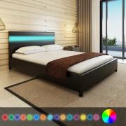 vidaXL Легло с LED, 140 х 200 см, изкуствена кожа, черно