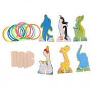 MagiDeal Cartoon Animals Hoop Ring Toss Quoits Game Wooden Dolphin Elephant Dinosaur Swan Penguin Pedestal Base&10 Multi-colored Rings Party Games & Gifts for Kids