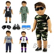 Barwa Boy Doll Clothes 5sets Boy Doll Clothes+2 pairs Shoes + 1 pair Glasses for 18 Inch American Girl & Boy Dolls Logan Doll Outfits