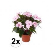 Bellatio flowers & plants 2x stuks kunstplanten roze bloemen Vlijtig Liesje in pot 25 cm