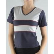 GINA Tričko s krátkým rukávem kombinace barev a paspule 98003-DGMLGB tm.popel-šedobílá M