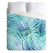 Society6 Juego de edredón y Funda de Almohada con diseño de Palma Tropical Moderno, 177 x 223 cm, Funda de Almohada: 76,2 x 50,8 cm, Color Azul