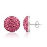Stříbrné náušnice pecky Pink 12mm