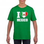 Shoppartners Groen I love Mexico fan shirt kinderen