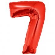 7. szám, fólia lufi, 102 cm, piros