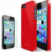 Husa Ringke Slim Crimson pentru iPhone 5-5s Rosie Plus Folie de Protectie Display Ringke