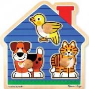 Дървен пъзел - Къща с животни от 3 части, 12055 Melissa and Doug, 000772120555