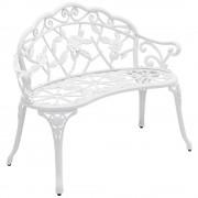 [casa.pro]® Градинска пейка 100 x 54 x 80 cm, Бяла, ковано желязо, стил Vintage