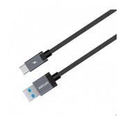 Astrum UT620 type-C 3.0A - USB 3.1 strapabíró erősített adatkábel fekete A53062-B