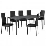 [en.casa] Set de mesa de comedor diseño [180cm x 80cm x 75cm] gris oscuro - 6 x sillas tapizadas en cuero sintético - negro