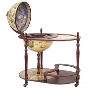 Globusbar mit Tisch HWC-D84, Minibar Hausbar Tischbar, Weltkugel Ø 42cm rollbar Eukalyptusholz ~ Variantenangebot