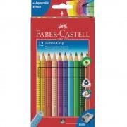 Creioane colorate Jumbo si ascutitoare 12 culori/set FABER-CASTELL Grip, FC110912
