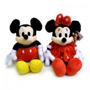 Mickey si Minnie Mouse rosu set jucarii de plus muzicale 25cm