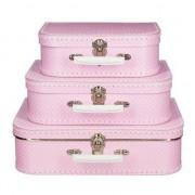 Merkloos Roze met stippen vintage koffertje 25 cm