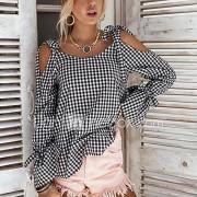 Dames Sexy Eenvoudig Street chic Lente Herfst T-shirt,Winkelen Afspraakje Casual/Dagelijks Geruit Sexy Zwart & Wit Ronde hals Lange mouw