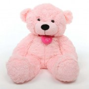 2 feet big pink teddy bear with pink neck I Love You Heart