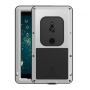 LOVE MEI Dust-proof Shock-proof Splash-proof Defender Cell Phone Case for Sony Xperia XZ2 - Silver