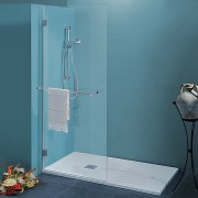 Parete doccia Nadia da 90 cm in cristallo 8 mm con braccio di fissaggio Cerniere Sabbiato Liberty