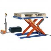 Flachform-Hubtisch LxB 1500 x 800 mm, Hubbereich bis 800 mm, Plattform geschlossen 400 V, Fuß-Bedienelement