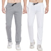 Cliths Pack of 2 Stylish Cotton Joggers For Men/Mens Sport lowers /Gym Lower (Black Grey Black White)