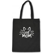 'Cat Mom' Shopper Tas - Draagtas - Katten Tas - Katoen - Zwart