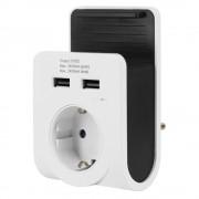 GAO földelt csatlakozó aljzat 2x USB töltővel 2,4A, telefon tartóval 6005H